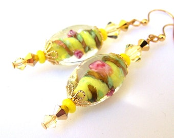 Yellow lampwork earrings with Swarovski crystal, yellow and green floral earrings, Spring earrings