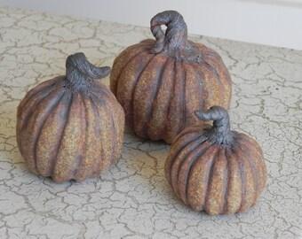 rugged rustic stoneware mini pumpkins