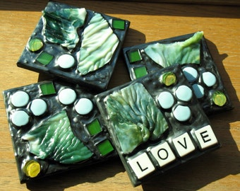 Love Recycled Stained Glass Coasters (Set of 4)