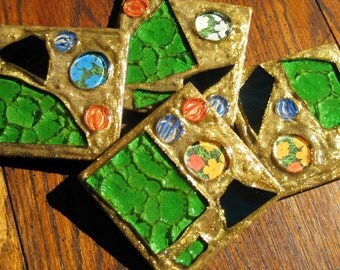 Gold Glitter Flowers Recycled Stained Glass Mosaic Coasters (Set of 4)