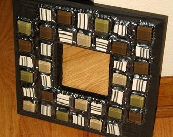 SALE - Metallic Gray, Brown, Cream, & Green Striped Mosaic Mirror