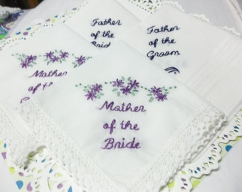 Mother of bride, father of bride / groom, wedding handkerchiefs, sets of 2 or 4, hand embroidered, parent gifts, father of groom, colors,