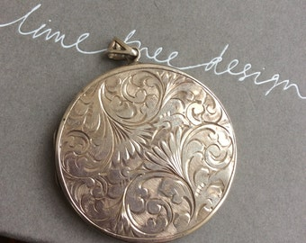 antique locket necklace, large engraved round  locket