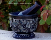 WITCH'S GARDEN Carved Black Soapstone Mortar & Pestle - Crafting Herb Spice Incense Grinding Preparation Tool, Kitchen Witchery, Witchcraft