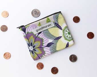Zipper Pouch, Coin Purse, Small Clutch, Purple and Green Zipper Pouch, Zipper Coin Pouch, Floral Pouch, ID Card Purse, Eco Friendly