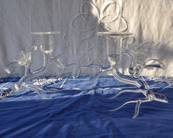 Art Glass Branch Candle Holders/Pair of Vintage Candlestick Holders/Icicle Candle Holders