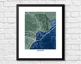 Flagstaff AZ Map Print.  Color Options and Size Options Available.  Map of Flagstaff