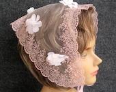 60s Vintage Pink Head Scarf, Flocked Flower Petal Adorned, Sheer Nylon Triangular Hair Scarf, Ribbon Chin Tie, Made in Japan