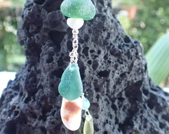 Sea glass, sea shell and coral pendant