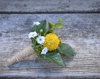 Silk Boutonniere  Rustic Country Twine Wrapped Yellow Ball White Baby's Breath and Eucalyptus
