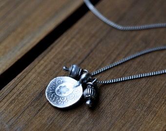 Sterling Pearl Floral Charm Necklace, Oxidised, Sterling Silver Gemstone Charm Necklace - Gypsy Rose Carm Necklace