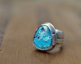 Sterling Silver Turquoise Ring, Oxidised Sterling Silver Stacking Ring, Gemstone Metalwork Inspirational Ring - Flourish Ring in Turquoise