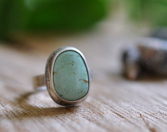 Sterling Turquoise Ring, Oxidised Sterling Silver Stacking Ring, Gemstone Metalwork Gold Ring - Feather Ring in Turquoise