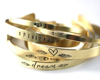 Cuff Bracelet, Custom Brass Cuff, Copper Cuff, Choice Of 1, Personalized Cuff, Womens Cuff, Heart Cuff, Arrow Cuff, Feather Cuff, Cuff