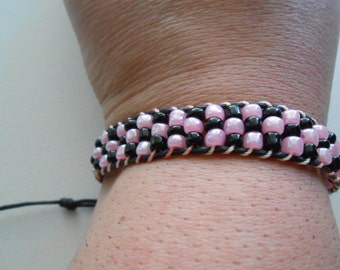 Beaded Wrap Bracelet Pink and Black