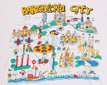 vintage 1980s Barcelona City t shirt Where's Waldo cartoon Spain vtg 80s graphic tee size large