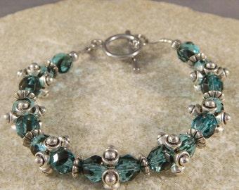 Aqua and Black Czech Glass and Metal Bracelet