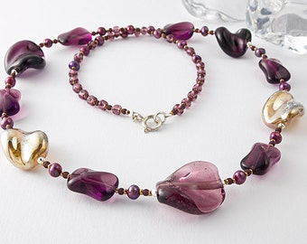 Amethyst and Gold Lampwork Necklace