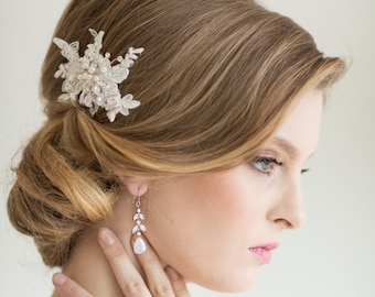 Bridal Lace Hair Comb, Wedding Headpiece, Bridal Lace Fascinator, Ivory Beaded Comb