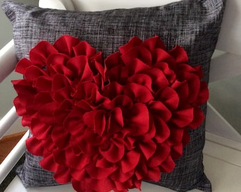Heart shaped pillow cover Red & charcoal