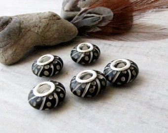 Black Beads, Carved Bone Beads, Bone Beads Silver Grommets, Handcrafted Bone Beads, Macrame Beads  European Charm 5 beads BB 1