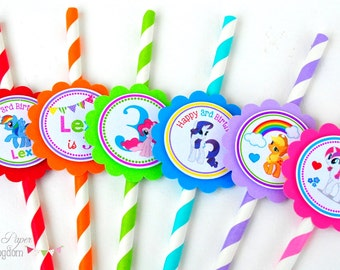 My Little Pony Straws, Striped Paper Straws, My Little Pony Birthday Party, Personalized Drinking Straws in rainbow colos -Set of 12