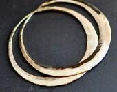 14k gold hoops, large wide yellow gold hoop earrings, round loop earrings