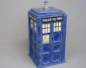 TARDIS Jar - Ready TO SHIP - Handmade Ceramic Container