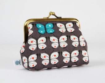Metal frame coin purse - Butterflies on grey - Deep dad / Kawaii japanese fabric / white butterfly teal green red dots / spring inspiration