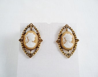 Gold Tone/Crystals Cameo Post Earrings