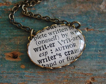 Writer Necklace,Present for Author,Dictionary Necklace,Word Necklace,Writer Gift,Writer Definition,Author Gift,Blogger Gift,Author Present