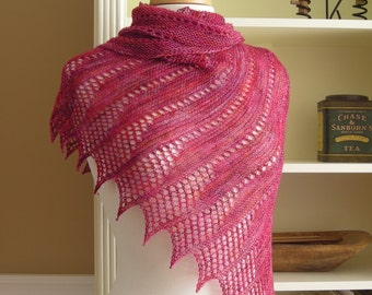 Lace Shawl Knitting Pattern PDF - Mistral Shawl - French inspired asymetric triangle wrap cowl scarf - easy lace knitting pattern no charts