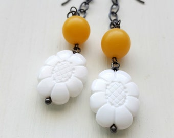 october meadow - earrings - vintage lucite and sterling - dangle earrings - white and mustard yellow