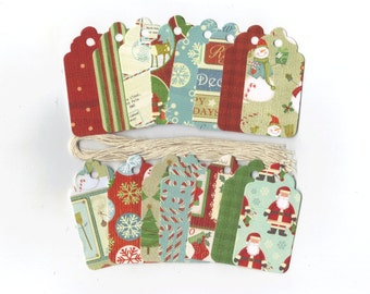 Winter Wonderland Christmas Scallop Die Cut Gift Hang Tags (18) Favor Bag Tags / Ready To Ship