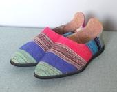 caravan -- vintage 80s woven slip on shoes size 9 1/2
