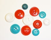 Fun Mix of Red, White, and Turquoise Blue Plastic Buttons - Vintage - Set of 11