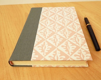 Pink and White Journal with Gray quarter binding.  Hardcover journal. Romantic, Regency style handmade book. Mother's Day Gift