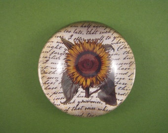 Yellow Sunflower Large Glass Dome Paperweight Botanical Illustration Floral Home Decor