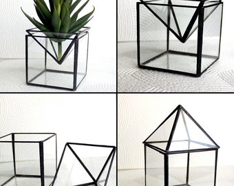 2 in 1 Geometric Glass Terrariums/Candle Holder - Stained Glass Decor - Home Decor- 3 Sizes