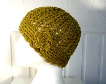 Womens Beanie Hat Crocheted in the colour Dark Lime Green