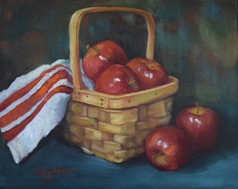 Red Apple Painting,Still Life Art,Brilliant Apples In Longaberger Basket,Original Canvas Oil Painting by Cheri Wollenberg