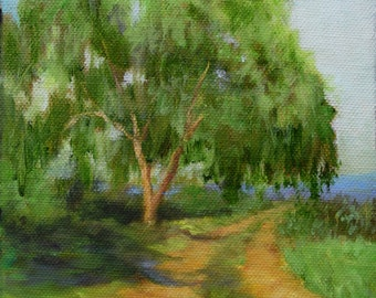 Small Landscape Painting, Willow Tree Road, 6x6 Original Canvas Painting by Cheri Wollenberg