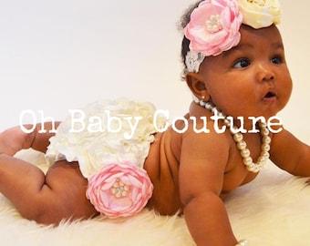 Elegant baby ivory satin rosette  bloomers, baby headband set for PhoTo ShOoT