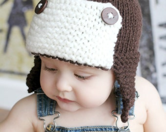Newborn Boys Chunky Knit Trapper Hat, Aviator Hat, Pilot Hat, Bomber Hat, Grey with Cream In Sizes Newborn up to 2T