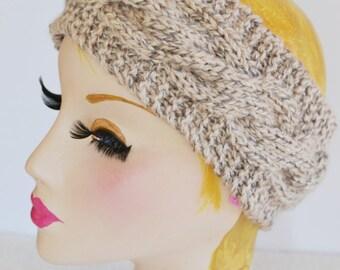 Womens Chunky Knit Cable Headband, Wide Headband, Earwarmer
