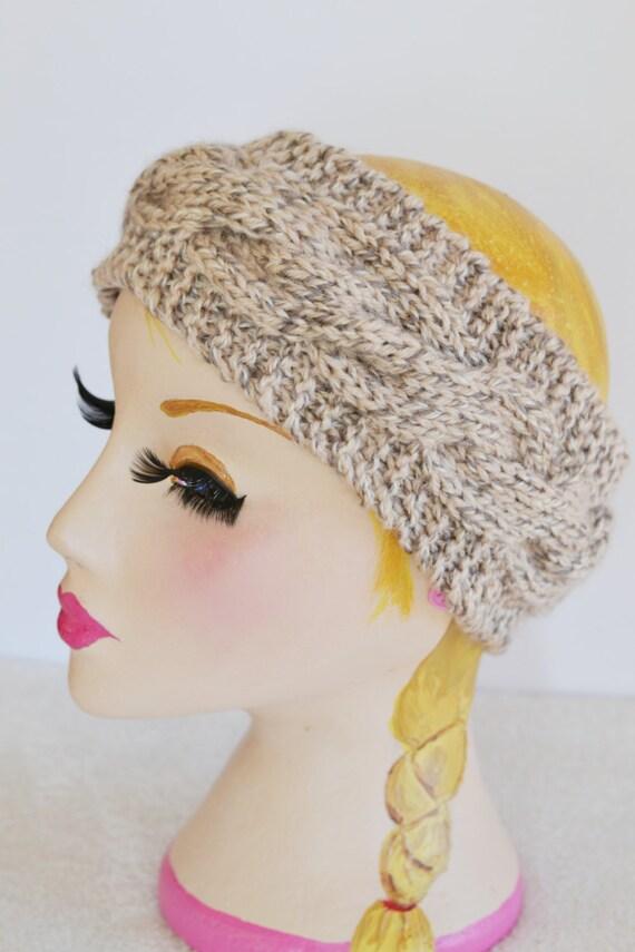 Womens Chunky Knit Cable Headband Wide Headband Earwarmer