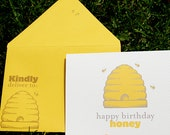 Honey Bee Birthday Flat Printed Greeting Card