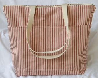 Red and Natural Ticking Stripe - Zippered Insulated Beach Tote- Overnight Bag- 6- Outer Pockets Water and Mildew Resistant Interior