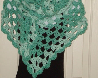 Summer Special/Crochet Triangle Shawl Triple Cluster Stitch/Wrap/Women's Shawl/Fashion Accessories/Handmade/Women's Accessories/Greens