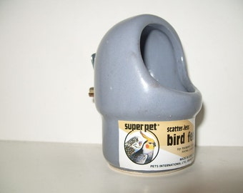 Bird Bowl Food Cup Vintage 80's Bird Cage Parrot Parakeet Feeder Cup Blue Gray Pottery